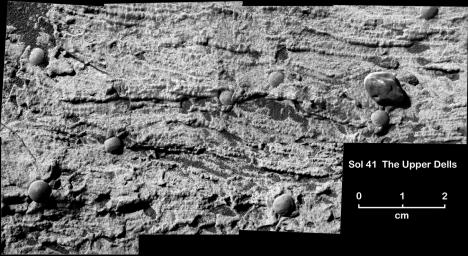 This magnified view from NASA's Mars Exploration Rover Opportunity of a portion of a martian rock called 'Upper Dells' shows fine layers (laminae) that are truncated, discordant and at angles to each other. Eight spherules are embedded in the rock.