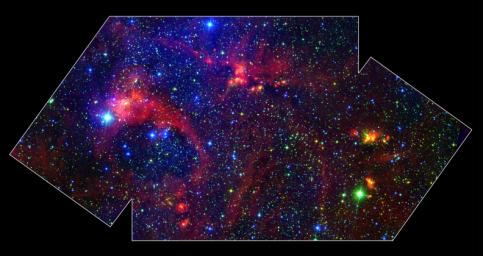 Images from NASA's Spitzer Space Telescope allow us to peek behind the cosmic veil and pinpoint one of the most massive natal stars yet seen in our Milky Way galaxy.