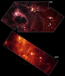 This image from NASA's Spitzer Space Telescope shows an exceptionally bright source of radio emission called DR21.