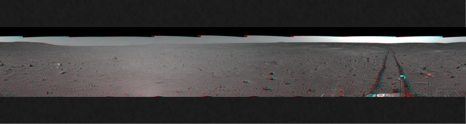 This 3-D cylindrical-perspective mosaic was created from navigation camera images that NASA's Mars Exploration Rover Spirit captured on on sol 100. 3D glasses are necessary to view this image.