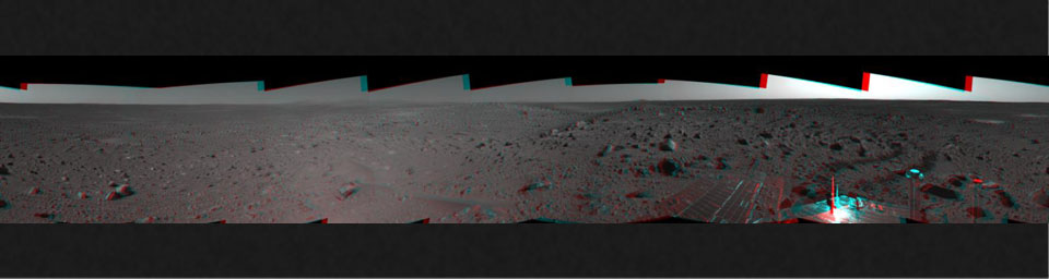 This 3-D cylindrical-perspective mosaic was created from navigation camera images that NASA's Mars Exploration Rover Spirit captured on on sol 107. 3D glasses are necessary to view this image.