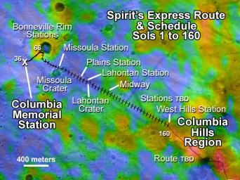 This map illustrates NASA's Mars Exploration Rover Spirit's position as of April 26, 2004, near the crater called 'Missoula.' Like a train on a tight schedule, Spirit made regular stops along the way to its ultimate destination, the 'Columbia Hills.'
