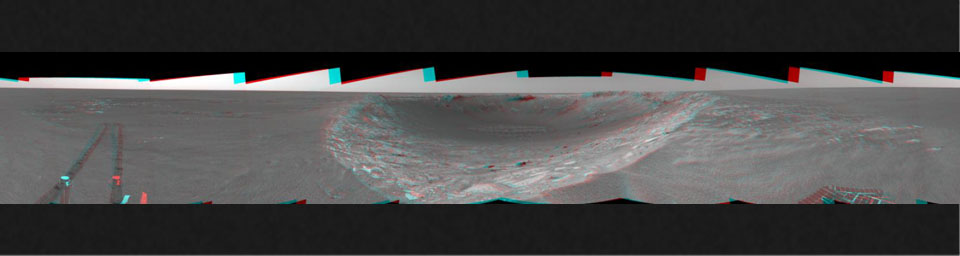 This 3-D cylindrical-perspective mosaic was created from navigation camera images that NASA's Mars Exploration Rover Spirit captured on on sol 103. 3D glasses are necessary to view this image.