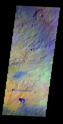 This false-color image released on May 18, 2004 from NASA's 2001 Mars Odyssey of Syrtis Major on Mars was acquired August 20, 2002, during northern spring.
