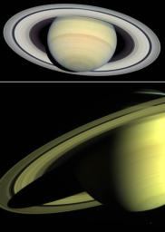 These images are from NASA's Hubble Space Telescope, taken March 22 (top) and May 16, 2004, of Saturn's displays its familiar banded structure, with haze and clouds at various altitudes.