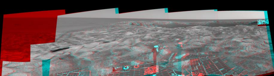 This 3-D cylindrical-perspective mosaic was created from navigation camera images that NASA's Mars Exploration Rover Spirit captured on on sol 115. 3D glasses are necessary to view this image.