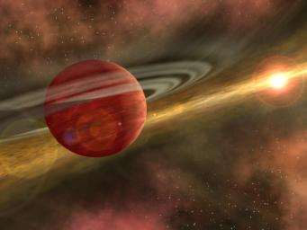 In this artist's conception, a possible newfound planet spins through a clearing in a nearby star's dusty, planet-forming disc. This clearing was detected around the star CoKu Tau 4 by NASA's Spitzer Space Telescope.