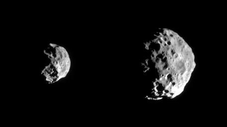 NASA's Cassini spacecraft shows early images returned from the first detailed reconnaissance of Saturn's small outer moon, Phoebe.