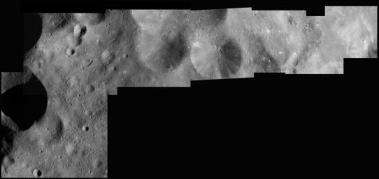 Shown here is a mosaic of seven of the sharpest, highest resolution images taken of Phoebe during NASA's Cassini spacecraft close flyby of the tiny moon.
