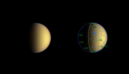 A day after entering orbit around Saturn, NASA's Cassini spacecraft sped silently past Titan, imaging the moon's south polar region.