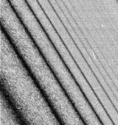 This image shows a close-up view of a density wave in Saturn's A ring. It was taken by the narrow angle camera on NASA's Cassini spacecraft after successful entry into Saturn's orbit.