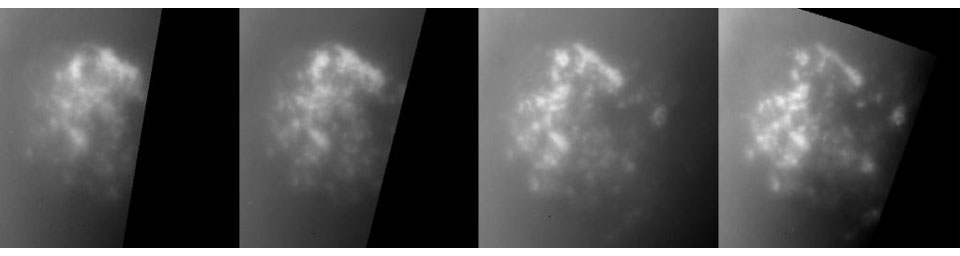 This sequence of images illustrates the evolution of a field of clouds near Titan's south pole over a period of almost five hours. The images were acquired on July 2, 2004, by NASA's Cassini spacecraft.