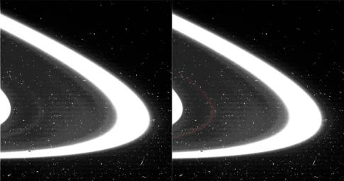 A new found ring of material, S/2004 1 R, in the orbit of Saturn's moon Atlas has been seen in this view of the region between the edge of Saturn's A ring and the F ring. This image from NASA's Cassini spacecraft was taken on July 1, 2004.