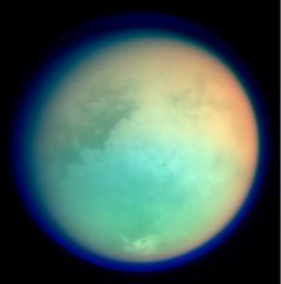 This image shows Titan in ultraviolet and infrared wavelengths. It was taken by NASA's Cassini imaging science subsystem on Oct. 26, 2004, and is constructed from four images acquired through different color filters.