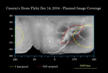 First Flyby of Dione