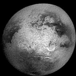 Titan presented this face as NASA's Cassini spacecraft approached for its second very close flyby of the mystery moon in December 2004.