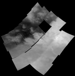 This mosaic of 28 images shows the regional coverage taken during NASA's Cassini spacecraft first encounter with Titan on Oct. 26, 2004.