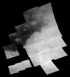 This mosaic of images taken at 28 footprints shows the regional coverage taken during NASA's Cassini spacecraft second encounter of Titan on Dec. 13, 2004.