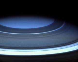 Saturn's northern hemisphere is presently a serene blue, more befitting of Uranus or Neptune, as seen in this natural color image captured by NASA's Cassini spacecraft.