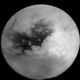 This mosaic of Titan's surface was made from 16 images. The individual images from NASA's Cassini spacecraft have been specially processed to remove effects of Titan's hazy atmosphere and to improve visibility of the surface near the terminator.