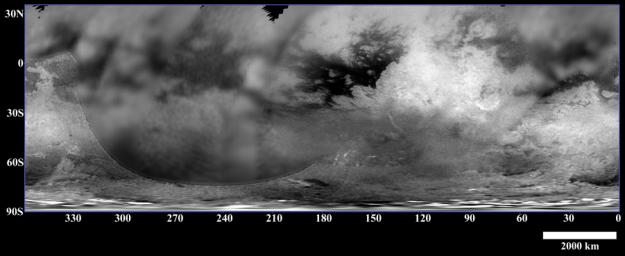 This map of Titan's surface brightness was assembled from images taken by NASA's Cassini spacecraft over the past year, both as it approached the Saturn system and during three closer flybys in July, October and December 2004.