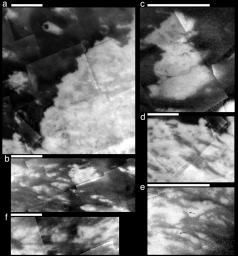 The six close-up views of Titan's surface shown here are composed of images acquired by NASA's Cassini spacecraft during flybys in October and December of 2004.