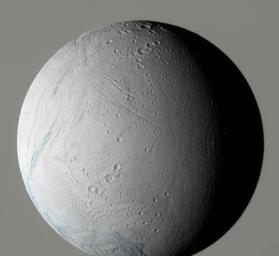 During its very close flyby on March 9, 2005, NASA�s Cassini spacecraft captured this false-color view of Saturn's moon Enceladus, which shows the wide variety of this icy moon's geology.