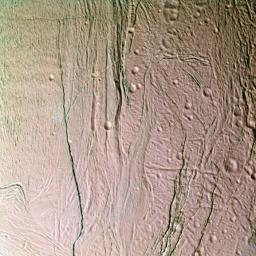 This false-color image from NASA's Cassini spacecraft shows a close-up look at Saturn's moon Enceladus.