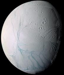 As it swooped past the south pole of Saturn's moon Enceladus on July 14, 2005, NASA's Cassini spacecraft acquired high resolution views of this puzzling ice world.