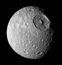 During its approach to Mimas on Aug. 2, 2005, NASA's Cassini spacecraft's narrow-angle camera obtained multi-spectral views of the moon from a range of 228,000 kilometers (142,500 miles).