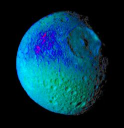 Mimas Showing False Colors #2