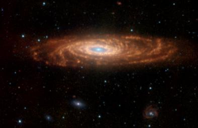 NASA's Spitzer Space Telescope has captured these infrared images of a nearby spiral galaxy that resembles our own Milky Way. The targeted galaxy, known as NGC 7331 and sometimes referred to as our galaxy's twin.
