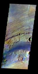 This image was collected July 17, 2002 during northern spring season. The local time at the image location was about 4 pm. The image shows an area in the Kasei Valles region as seen by NASA's 2001 Mars Odyssey.