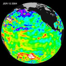 Recent sea level height data from NASA's U.S./France Jason altimetric satellite during a 10-day cycle ending June 15, 2004 showed that Pacific equatorial surface ocean heights and temperatures were near neutral.