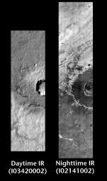 Meridiani Crater in Day and Night
