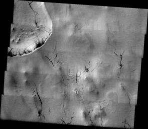 This image released on July 6, 2004 from NASA's 2001 Mars Odyssey was taken during early spring near Mars' north pole. Dust devils, small cyclonic wind storms, are common on Mars.