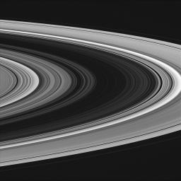 The usually bright B ring (at center) appears very dim in this image from NASA's Cassini spacecraft.