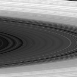 The sunlit face of Saturn's rings shows magnificent detail in this image from NASA's Cassini spacecraft taken in near infrared light.