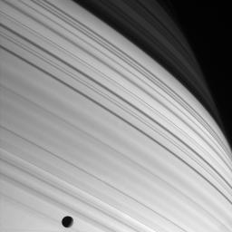 This image from NASA's Cassini spacecraft shows a dramatic portrait painted by the Sun, the long thin shadows of Saturn's rings sweep across the planet's northern latitudes.