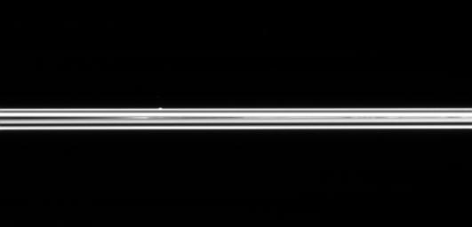 The small ring moon Atlas is seen here, on the far side of Saturn's immense ring system. NASA's Cassini spacecraft was only 0.6 degrees above the ring plane when this image was taken.