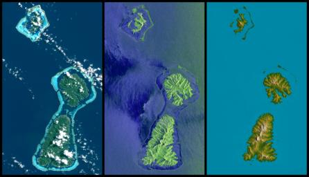 Bora Bora, Tahaa, and Raiatea (top to bottom) are Polynesian Islands about 220 kilometers (135 miles) west-northwest of Tahiti in the South Pacific.