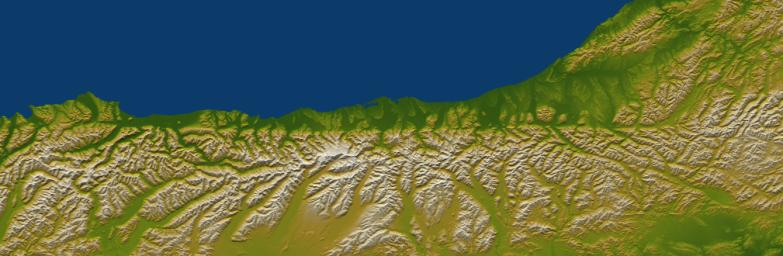 The Alpine fault runs parallel to, and just inland of, much of the west coast of New Zealand's South Island. This view was created from the near-global digital elevation model produced by NASA's Shuttle Radar Topography Mission.