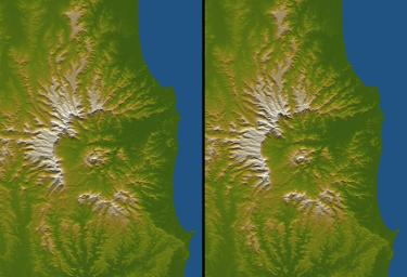 Tweed Extinct Volcano, Australia, Stereo Pair of SRTM Shaded Relief and 