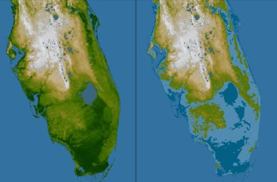 The very low topography of southern Florida is evident in this color-coded shaded relief map generated with data from NASA's Shuttle Radar Topography Mission.