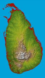 The topography of the island nation of Sri Lanka is well shown in this color-coded shaded relief map generated with digital elevation data from NASA's Shuttle Radar Topography Mission (SRTM).