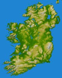The island of Ireland comprises a large central lowland of limestone with a relief of hills surrounded by a discontinuous border of coastal mountains which vary greatly in geological structure as seen by NASA's Shuttle Radar Topography Mission.