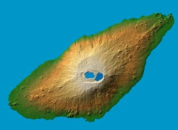 The recently active volcano Mt. Manaro is the dominant feature in this shaded relief image of Ambae Island, part of the Vanuatu archipelago located 1400 miles northeast of Sydney, Australia.