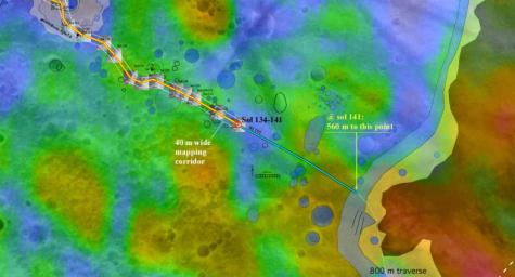 The red dot labeled 'Sol 134-141' in this map illustrates when and where NASA's Mars Exploration Rover Spirit acquired the 'Santa Anita Panorama.'