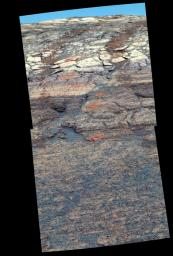 This view from NASA's Mars Exploration Rover Opportunity's panoramic camera is a false-color composite rendering of the first seven holes that the rover's rock abrasion tool dug on the inner slope of 'Endurance Crater' on Mars.