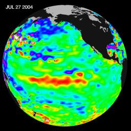 Sea-level height data from NASA's U.S./France Jason altimetric satellite during a 10-day cycle ending July 27, 2004, show weaker than normal trade winds in the western and central equatorial Pacific have triggered an eastward moving, warm Kelvin wave.